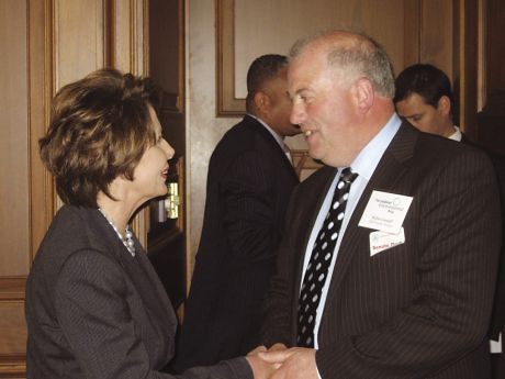 Willie Corduff meets Nancy Pelosi, Speaker of the US Congress, at a luncheon on Capitol Hill, Washington DC on Thursday, April 26th, 2007. Four days earlier Corduff was awarded the Goldman Environmental Prize in San Francisco. (Pic: Stephen Mills, Sierra)