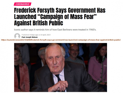 "Coronavirus Frederick Forsyth Says Government Has Launched ""Campaign of Mass Fear"" Against British Public"