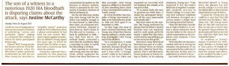 'HIstorian Caught in Ambush Row' Justine McCarthy Sunday Times 26 August 2012 text