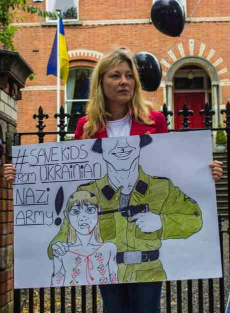 This was by far the best poster at today's demo, hand drawn by the lady in the photographs' young daughter.