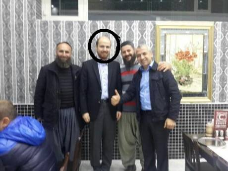 President Erogans son, Bilal Circled Center, with Leaders of ISIS and Nasra. Identity of man on the right unknown.