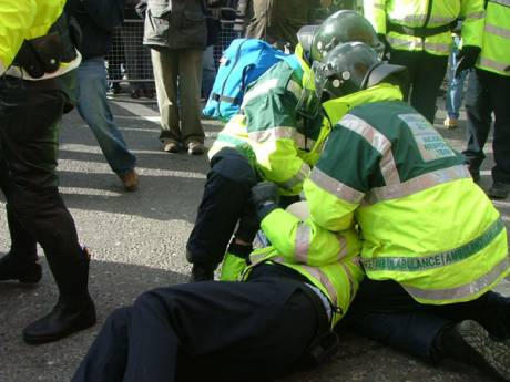 Fighting Breaks out and a Garda Goes Down Injured