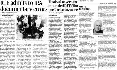 News coverage of flaws in An Tost Fada documentary and re-edit for West Cork History Festival - click for bigger image