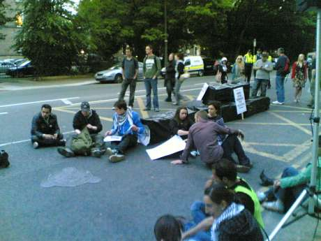Dublin demo for Gaza, protesters sleep outside Israeli embassy and shut it down for the night