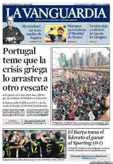 New York INDIGNADOS are front page news in Catalunya