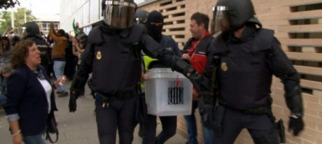 Spanish police take ballot papers by force and of course the votes cast within this morning -