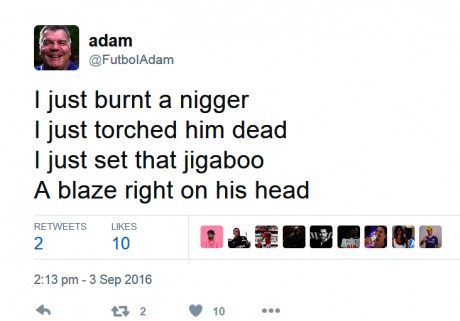 Ireland First's Futboi Adam Writes About Burning Black People To Death