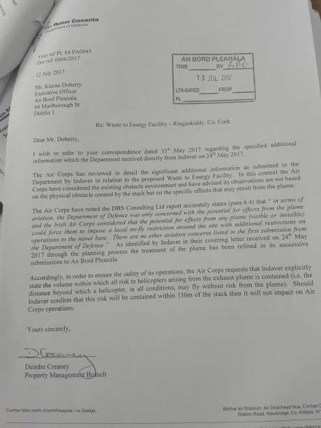 Letter submitted from the Department of Defence